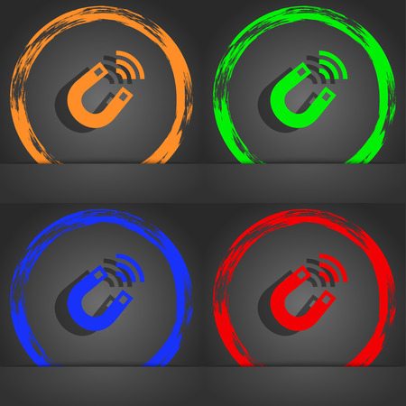 electromagnetism: Magnet icon symbol. Fashionable modern style. In the orange, green, blue, green design. illustration