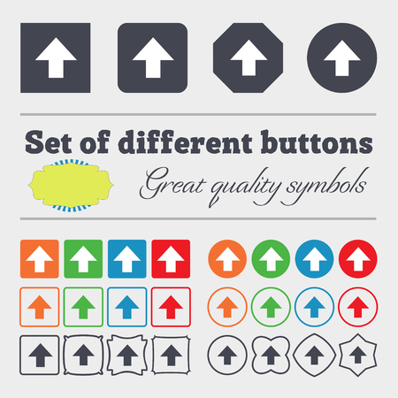 this: This side up sign icon. Fragile package symbol. Big set of colorful, diverse, high-quality buttons. illustration