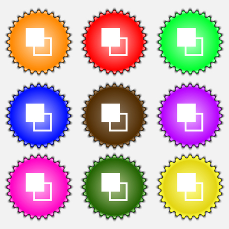 photoshop: Active color toolbar icon sign. A set of nine different colored labels. illustration