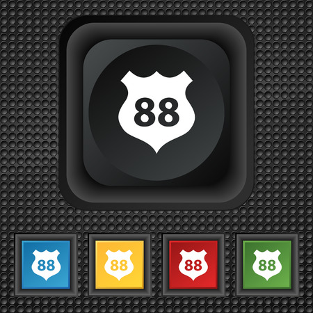 highway icon: Route 88 highway icon sign. symbol Squared colourful buttons on black texture. illustration