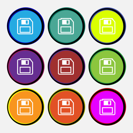 record office: floppy disk icon sign. Nine multi colored round buttons. illustration Stock Photo