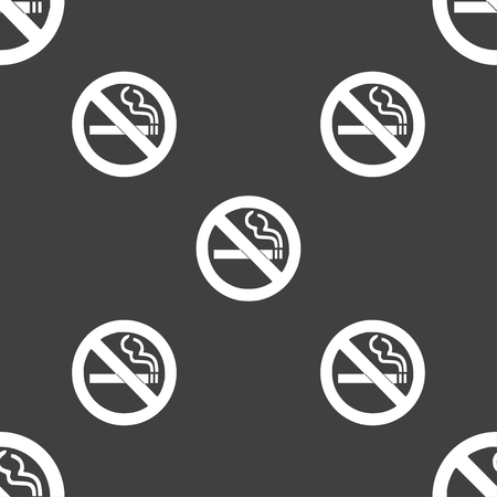 hazard damage: no smoking icon sign. Seamless pattern on a gray background. illustration Stock Photo