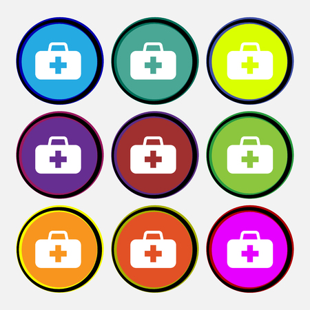 medicine chest: medicine chest icon sign. Nine multi-colored round buttons. illustration Stock Photo