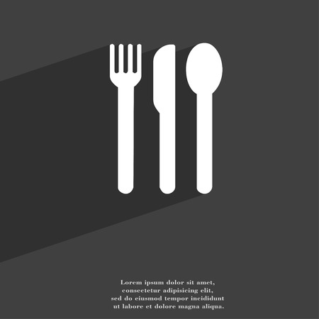 silver ware: fork, knife, spoon icon symbol Flat modern web design with long shadow and space for your text. illustration