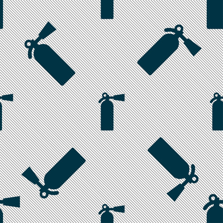 escaping: extinguisher icon sign. Seamless pattern with geometric texture. illustration Stock Photo
