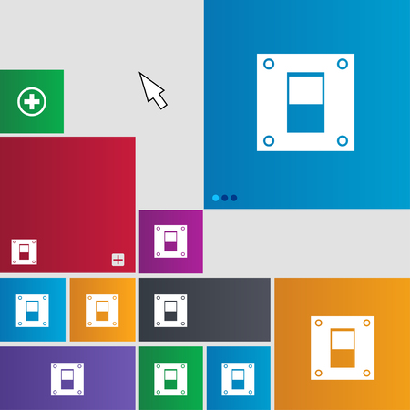 power switch: Power switch icon sign. Metro style buttons. Modern interface website buttons with cursor pointer. illustration