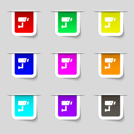 close circuit camera: Surveillance Camera icon sign. Set of multicolored modern labels for your design. illustration