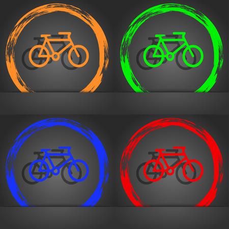biking glove: bike icon symbol. Fashionable modern style. In the orange, green, blue, green design. illustration