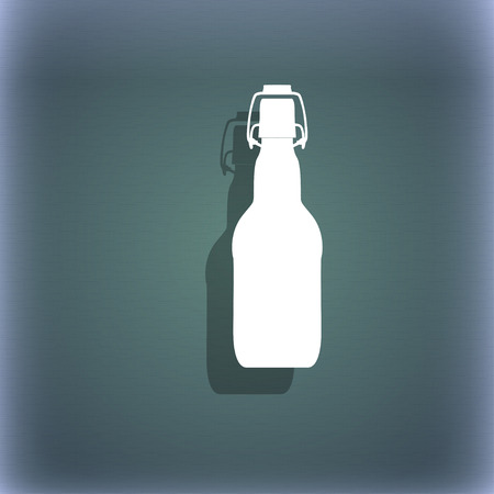 alcohol series: bottle icon symbol on the blue-green abstract background with shadow and space for your text. illustration Stock Photo