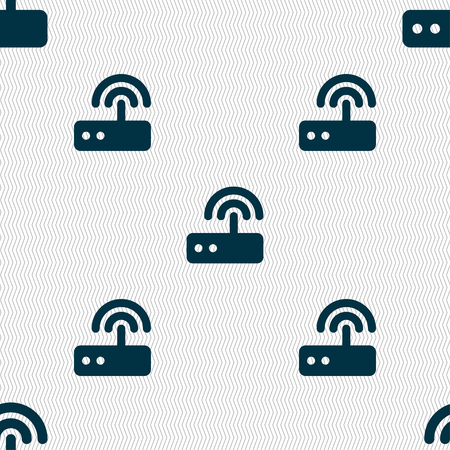 dsl: Wi fi router icon sign. Seamless pattern with geometric texture. illustration Stock Photo