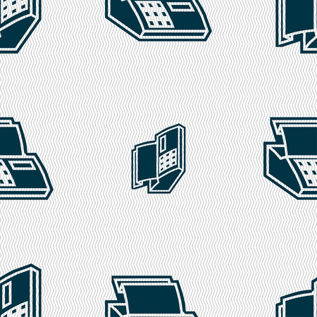 checkout line: Cash register machine icon sign. Seamless pattern with geometric texture. illustration