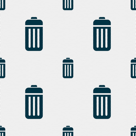 local supply: The trash icon sign. Seamless pattern with geometric texture. illustration Stock Photo