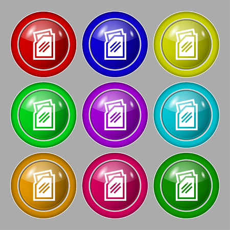 liquids: Text file icon sign. symbol on nine round colourful buttons. illustration