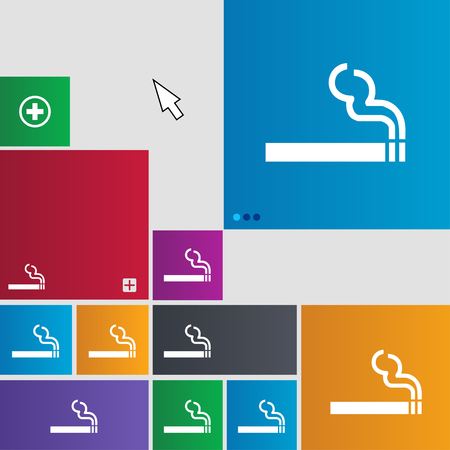 smoldering cigarette: cigarette smoke icon sign. buttons. Modern interface website buttons with cursor pointer. illustration