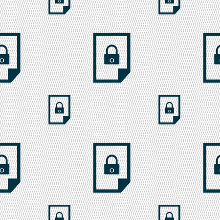 locked icon: File locked icon sign. Seamless pattern with geometric texture. illustration