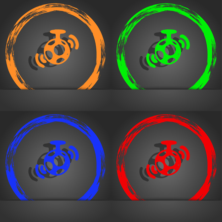 mirror ball: mirror ball disco icon symbol. Fashionable modern style. In the orange, green, blue, green design. illustration