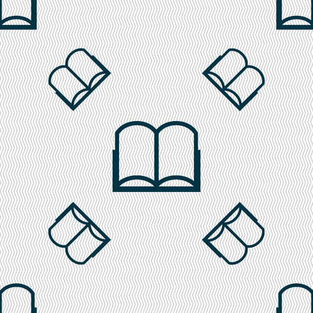 reading app: Book sign icon. Open book symbol. Seamless pattern with geometric texture. illustration Stock Photo