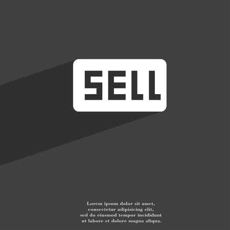 contributor: Sell, Contributor earnings icon symbol Flat modern web design with long shadow and space for your text. illustration