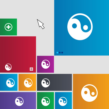 yang style: Ying yang icon sign. Metro style buttons. Modern interface website buttons with cursor pointer. illustration