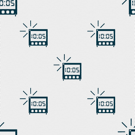 digital clock: digital Alarm Clock icon sign. Seamless abstract background with geometric shapes. illustration Stock Photo