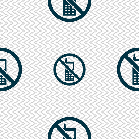 refrain: mobile phone is prohibited icon sign. Seamless pattern with geometric texture. illustration Stock Photo