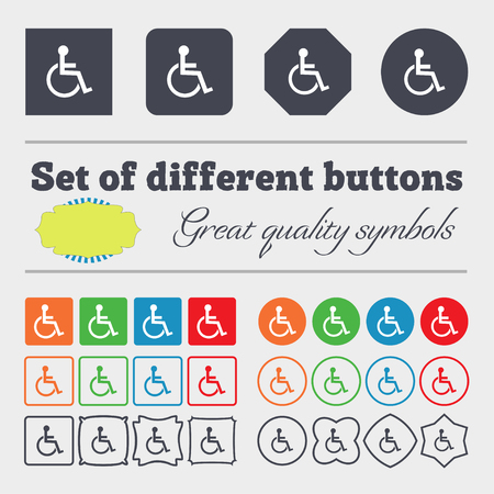 invalid: Disabled sign icon. Human on wheelchair symbol. Handicapped invalid sign. Big set of colorful, diverse, high-quality buttons. illustration Stock Photo