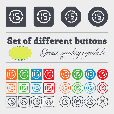 min: 15 second stopwatch icon sign. Big set of colorful, diverse, high-quality buttons. illustration