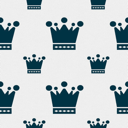 upper class: Crown icon sign. Seamless pattern with geometric texture. illustration
