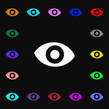 the sixth: sixth sense, the eye icon sign. Lots of colorful symbols for your design. illustration