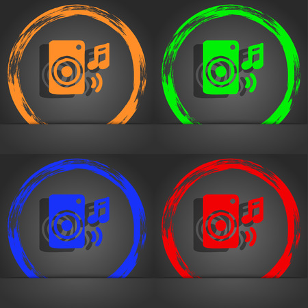 volume glow light: music column, disco, music, melody, speaker icon symbol. Fashionable modern style. In the orange, green, blue, green design. illustration