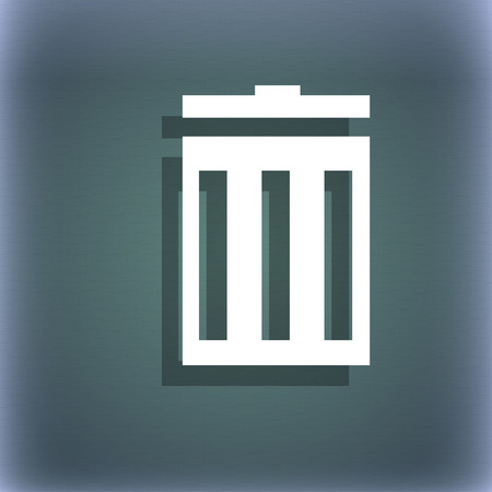 utilization: Recycle bin sign icon. Symbol. On the blue-green abstract background with shadow and space for your text. illustration Stock Photo