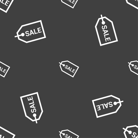 liquids: Sale icon sign. Seamless pattern on a gray background. illustration