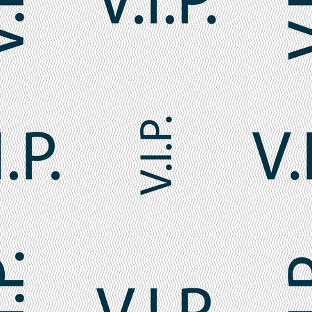very important person: Vip sign icon. Membership symbol. Very important person. Seamless abstract background with geometric shapes. illustration Stock Photo