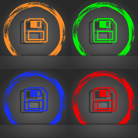 device disc: floppy disk icon symbol. Fashionable modern style. In the orange, green, blue, green design. illustration