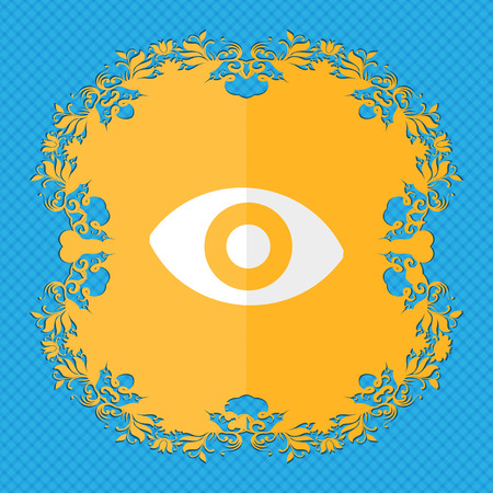 a sense of: sixth sense, the eye. Floral flat design on a blue abstract background with place for your text. illustration Stock Photo