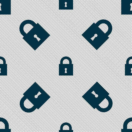 safest: closed lock icon sign. Seamless pattern with geometric texture. illustration Stock Photo
