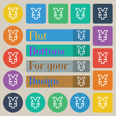 jpy: Yen JPY icon sign. Set of twenty colored flat, round, square and rectangular buttons. illustration