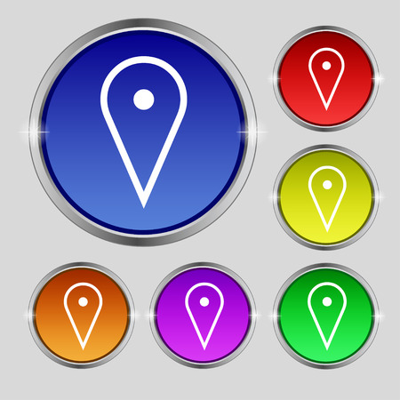 web portal: map poiner icon sign. Round symbol on bright colourful buttons. illustration Stock Photo