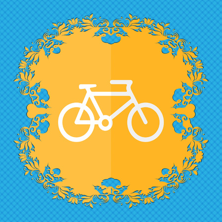 biking glove: bike. Floral flat design on a blue abstract background with place for your text. illustration Stock Photo