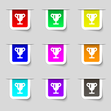 awarding: Winner cup, Awarding of winners, Trophy icon sign. Set of multicolored modern labels for your design. illustration