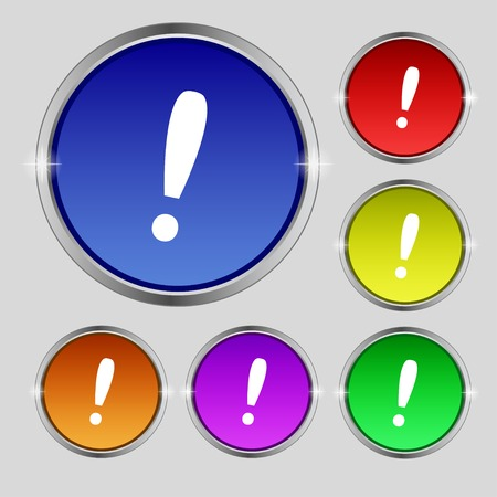 inform information: Exclamation mark sign icon. Attention speech bubble symbol. Set colourful buttons. illustration
