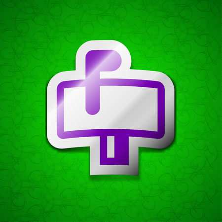 media distribution: Mailbox icon sign. Symbol chic colored sticky label on green background. illustration