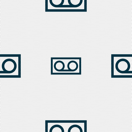 audio cassette: audio cassette icon sign. Seamless pattern with geometric texture. illustration