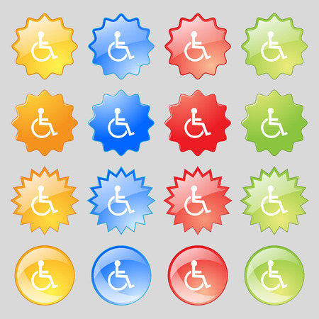 invalid: Disabled sign icon. Human on wheelchair symbol. Handicapped invalid sign. Big set of 16 colorful modern buttons for your design. illustration