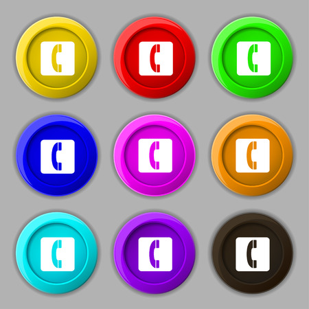 cordless phone: handset icon sign. symbol on nine round colourful buttons. illustration