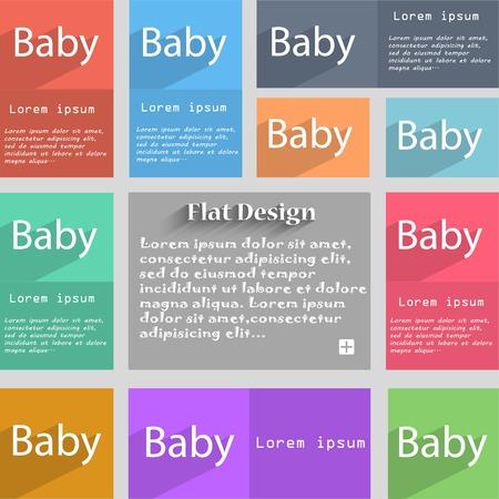 bebe a bordo: Bebé a bordo icono de la señal. Infantil en símbolo de precaución coche. tetina del chupete de bebé. Conjunto de botones de colores. ilustración