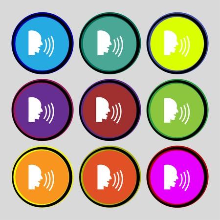 aloud: Talking Flat modern web icon. Set colour button. illustration Stock Photo