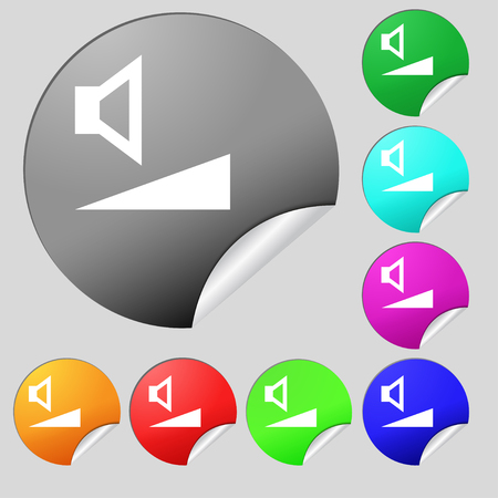 max: volume, sound icon sign. Set of eight multi colored round buttons, stickers. illustration