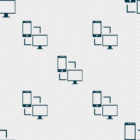 synchronization: Synchronization sign icon. communicators sync symbol. Data exchange. Seamless abstract background with geometric shapes. illustration