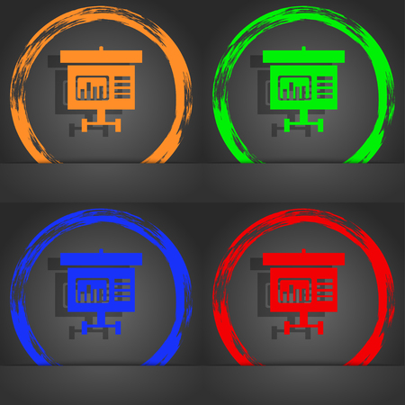 grow money: Graph icon sign. Fashionable modern style. In the orange, green, blue, red design. illustration Stock Photo